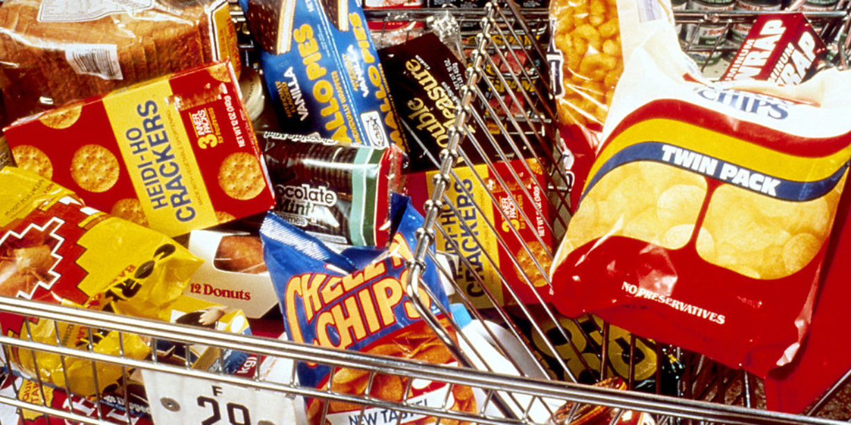 big food packaged goods in supermarket
