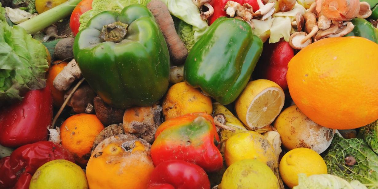 reducing food waste - pile of waste vegetables
