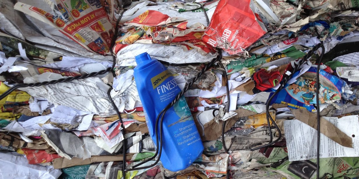 impact of packaging on the environment - bale of packaging waste