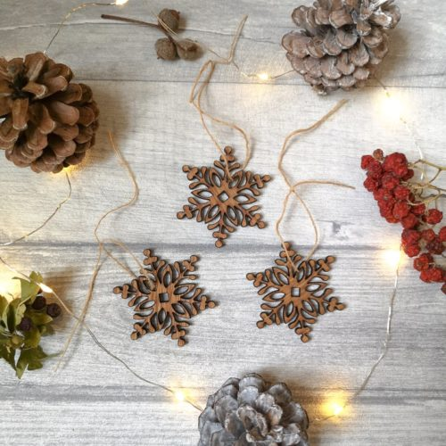 Snowflake Wooden Christmas Decorations