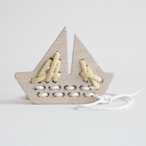 Wooden Boat Lacing Toy