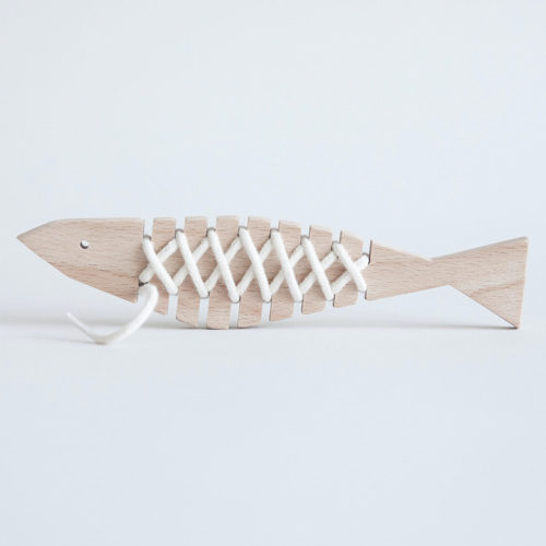 Wooden Fish Lacing Toy