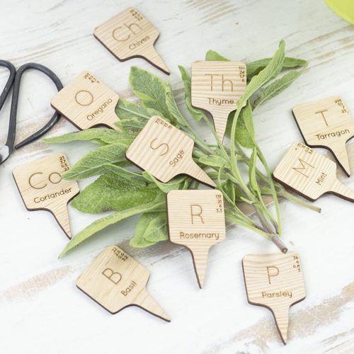 Chemical Element Wooden Herb Markers