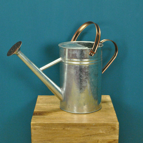 Copper Trim Galvanized Metal Watering Can
