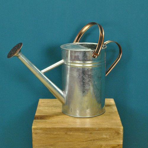 Copper Trim Galvanized Metal Watering Can